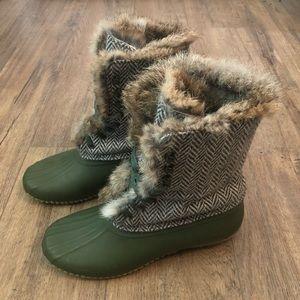 J. Crew Shoes - J. Crew Olive Herringbone Rabbit Fur Duck Boots